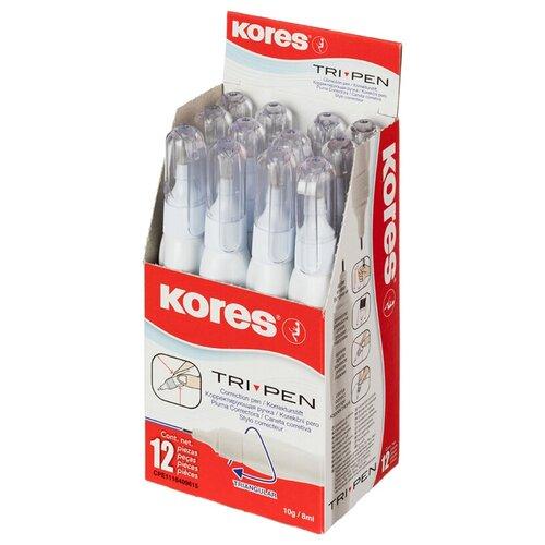 Kores Корректирующий карандаш Tri Pen 8 мл, металлический наконечник, 12 шт белый