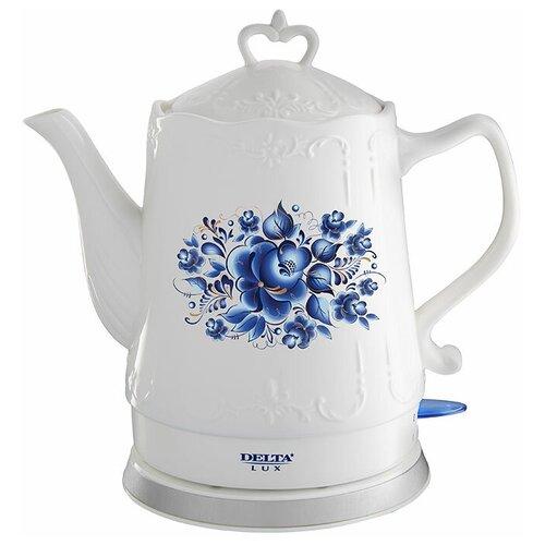 Чайник DELTA LUX DL-1237, гжель чайник delta lux dl 1204b 1 7l black