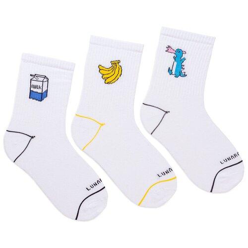 Комплект женских носков с принтом lunarable Молоко-банан-дракон, белые, желтые, синие
