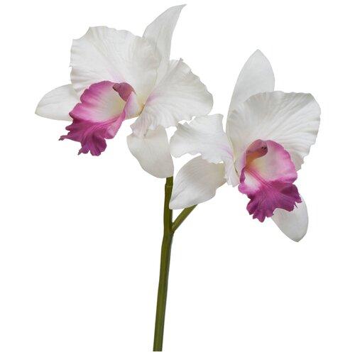 Искусственный цветок Орхидея Каттлея белая с сиреневым язычком 29 см pablo de gerard darel белая блузка с рельефной отделкой