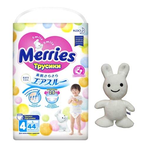 Merries Трусики L (9-14 кг) 44 шт + игрушка, 44 шт., Подгузники  - купить со скидкой
