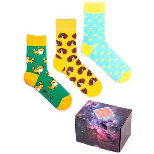 Цветные носки Babushka, набор носков с принтом, 3 пары в коробке, размер 36-39, CGB-6