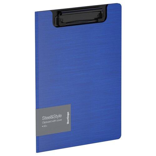 Berlingo Папка-планшет с зажимом Steel&Style A5+, пластик синий