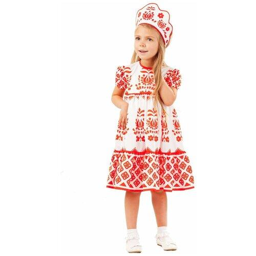 Купить Костюм пуговка Аленушка (1005 к-18), белый/красный, размер 116, Карнавальные костюмы