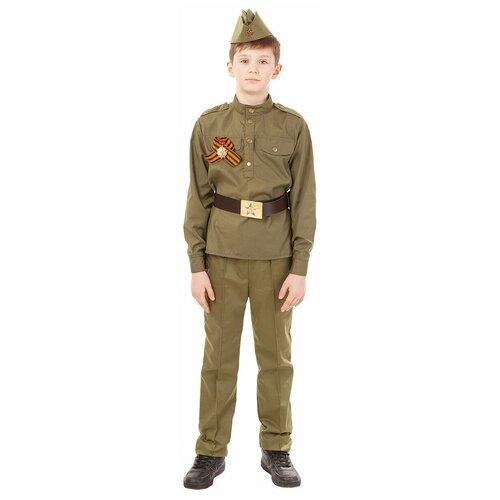 Купить Костюм пуговка Солдат (2032/1 к-18), коричневый, размер 110, Карнавальные костюмы