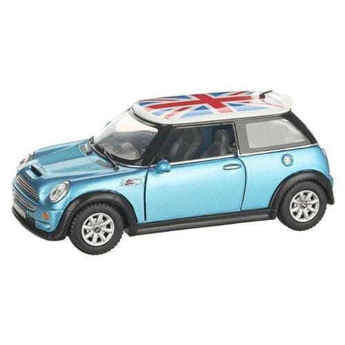 Купить Легковой автомобиль Serinity Toys Mini Cooper S с флагом (5059DFKT) 1:28, 12.5 см, голубой, Машинки и техника