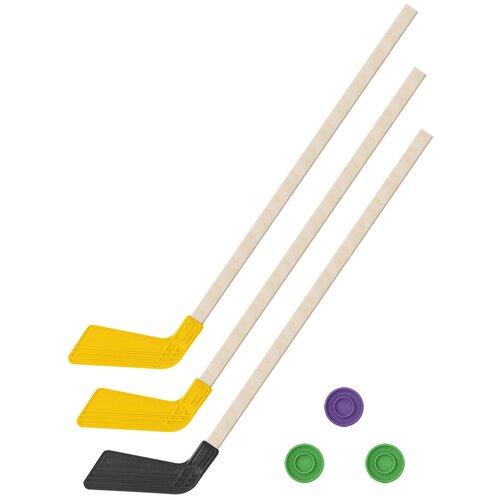 Детский хоккейный набор зима,лето 3 в 1/ Клюшки хоккейных 80 см (2 желтых, 1 черная) + 3 шайбы, Задира-плюс