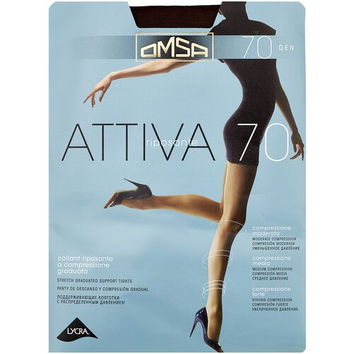 Колготки Omsa Attiva, 70 den, размер 4-L, marrone (коричневый) колготки omsa omsa 40 den размер 4 l marrone коричневый