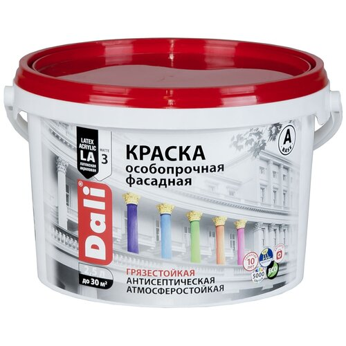 Фото - Краска акриловая DALI особопрочная Фасадная влагостойкая моющаяся матовая белый 2.5 л краска акриловая dali для кухни и ванной влагостойкая моющаяся матовая белый 5 л