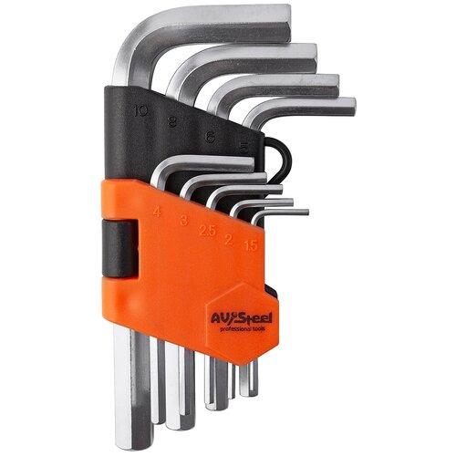 Набор имбусовых ключей AVSteel AV-361109, 9 предм., черный/оранжевый набор инструментов avsteel av 011056 56 предм черный оранжевый