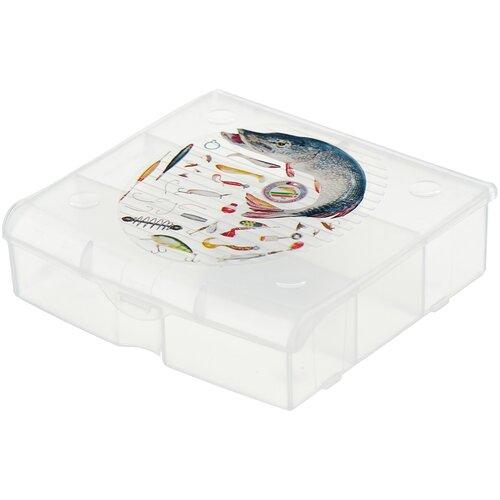 Ящик с органайзером BLOCKER 5 ячеек BR3726 14x13x4.1 см прозрачный матовый