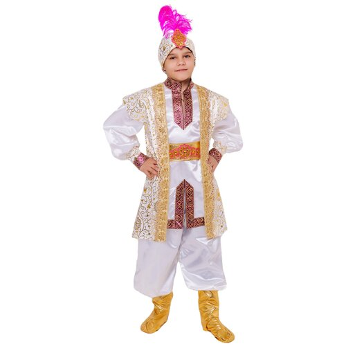 Купить Костюм пуговка Султан (2116 к-21), белый, размер 110, Карнавальные костюмы