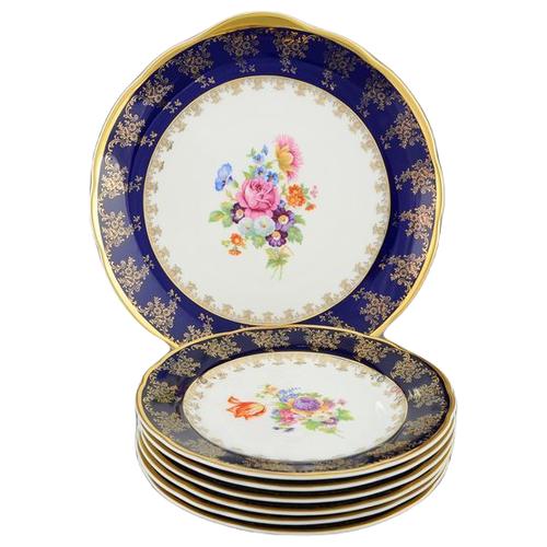 Фото - Сервиз для торта Мэри-Энн Темно-синяя окантовка с цветами, с тарелками 17 см, 7 пр., Leander ваза для фруктов мэри энн темно синяя окантовка с цветами 23 см 03116154 0086 leander