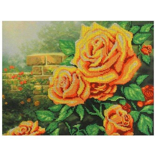 Желтые розы набор габардин+бисер 28х35 МП-Студия БГ-232 28х35 МП-Студия БГ-232