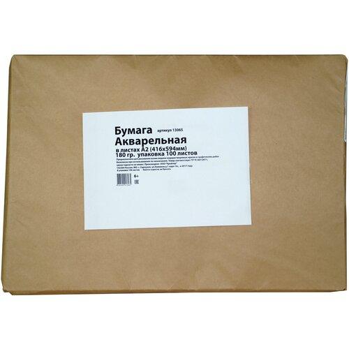 Акварельная бумага А2 416х594 мм 180 гр. 100 листов упаковка крафт бумага