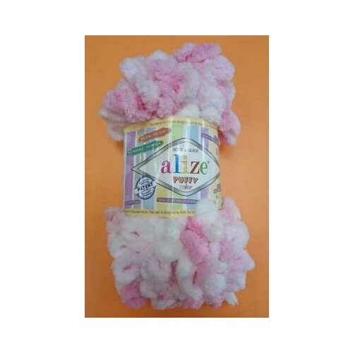 Пряжа Alize Puffy Color 100г, 9м (Ализе Пуффи Колор) цвет 5863 розовый/белый