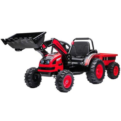 электромотоцикл цвет красный harleybella hzb 118 red Детский электромобиль трактор с ковшом и прицепом (красный, 2WD, EVA) - HL389-LUX-RED-TRAILER