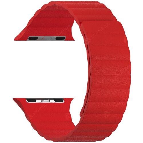 Кожаный ремешок для Apple Watch 38/40 mm LYAMBDA POLLUX DSP-24-40-RD Red ремешок lyambda pollux для apple watch 38 40 mm dsp 24 40 bk черный