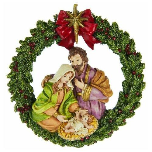 Фото - Ёлочная игрушка святое семейство - рождественский венок, полистоун, 11 см, Kurts Adler ёлочная игрушка кошечка делфтский фарфор 10 см разные модели kurts adler j0936