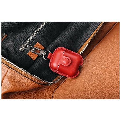 Кожаный чехол/Защитный чехол/Чехол для наушников/Противоударный чехол/для Apple/для AirPods/для AirPods 2/С карабином/С кнопкой, красный чехол