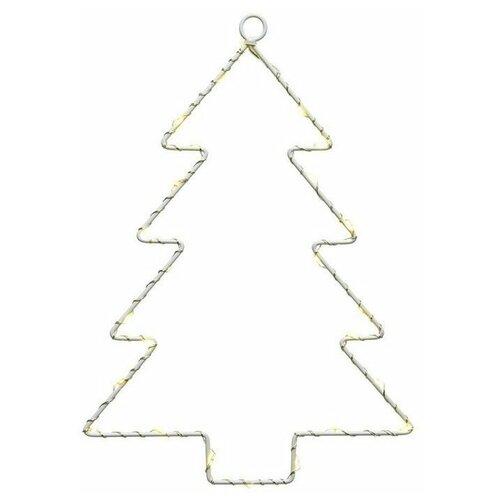 Светящееся украшение ёлочка, 40 тёплых белых LED-огней, 2.5x32x43 см, батарейки, Kaemingk светящееся панно баночка снеговичков merry christmas mdf 5 тёплых белых led огней 17x27 см таймер батарейки kaemingk