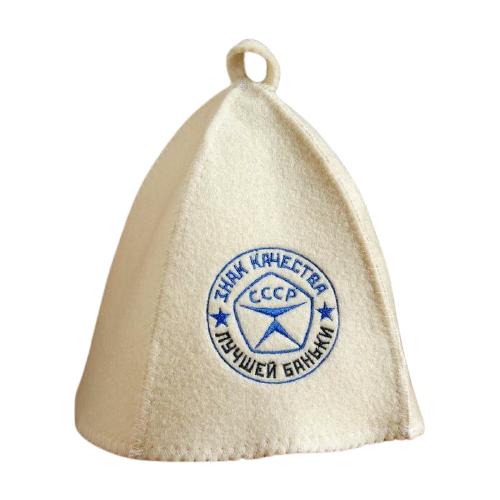 Добропаровъ Шапка для бани с вышивкой Знак качества лучшей баньки белый