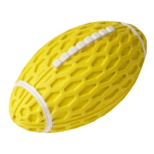 HOMEPET SILVER SERIES 14,5 см х 8,2 см х 7,9 см игрушка для собак мяч регби с пищалкой желтый каучук