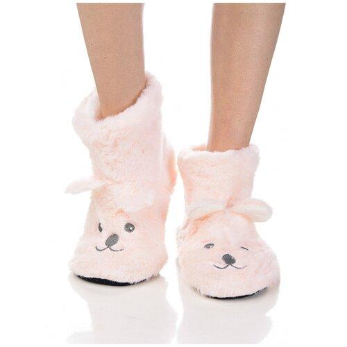 Плюшевые носки домашние Мишки с накладными ушками, противоскользящая подошва, внутренний подклад из искусственного меха, светло-розовый цвет, размер 36-38