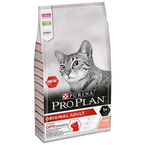 Корм сухой Pro Plan для взрослых кошек от 1 года, с лососем, Пакет, 10кг