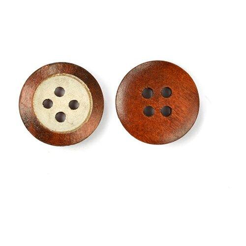 Пуговицы деревянные TBY BT.WD.634 цв.коричневый/белый 28L-18мм, 4 прокола, 20 шт TBY BT.WD.634