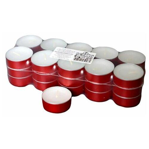 Чайные свечи, белые в красной гильзе, 3.8х1.6 (упаковка 30 шт.), Омский Свечной 0484-свеча