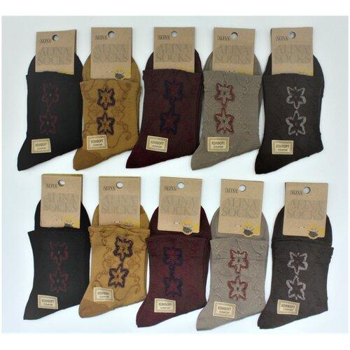 Носки женские Alina CC2080 / 10пар , коричневые, горчичный, черный, бордовый, бежевый, размер 36-41