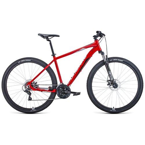 Горный (MTB) велосипед FORWARD Apache 29 2.0 Disc (2021) красный/серебристый 19 (требует финальной сборки) горный mtb велосипед forward apache 27 5 1 2 s 2021 желтый зеленый 19 требует финальной сборки