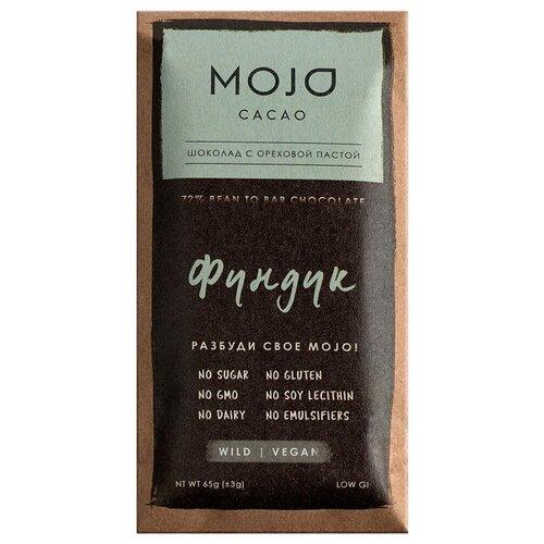 Шоколад Mojo Cacao Фундук горький с ореховой пастой, 65 г