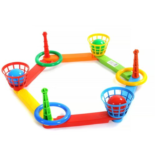 Купить Кольцеброс (3 кольца, 3 корзины, 3 мячика), арт. PL6994, Poltoys, Спортивные игры и игрушки