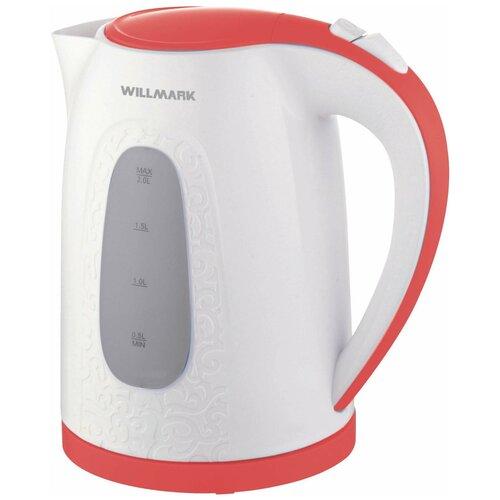 Чайник Willmark WEK-2009P, белый/красный чайник willmark wek 2009p белый фиолетовый