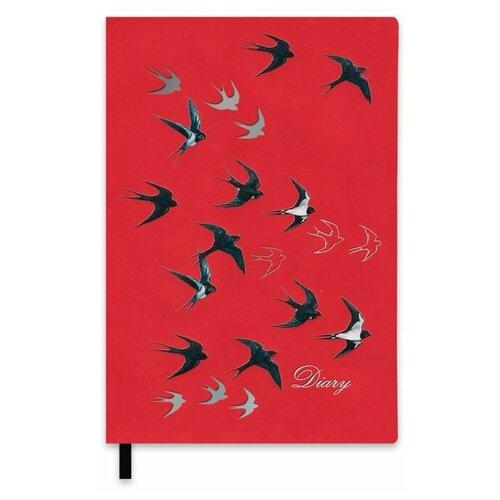 Ежедневник Феникс+ Ласточки недатированный, искусственная кожа, А5, 120 листов, ласточки, цвет бумаги тонированный