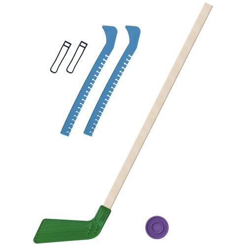 Набор зимний: Клюшка хоккейная зелёная 80 см.+шайба + Чехлы для коньков голубые, Задира-плюс