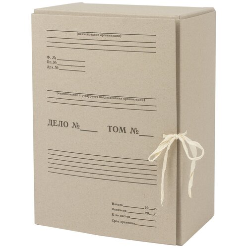 STAFF Короб архивный с завязками А4, картон 150 мм серый