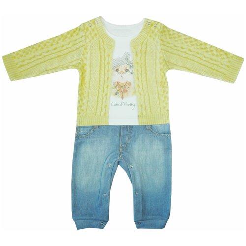 Купить Комбинезон Папитто, размер 86, желтый/голубой, Комбинезоны