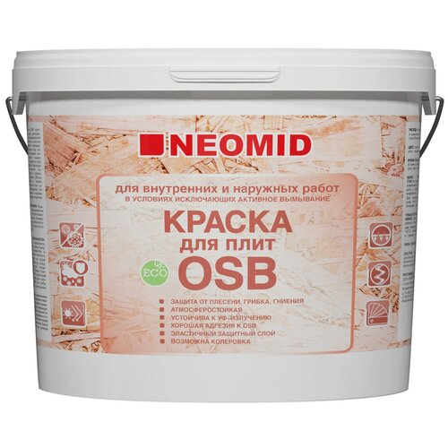 Краска акриловая NEOMID для плит OSB влагостойкая матовая белый 14 кг