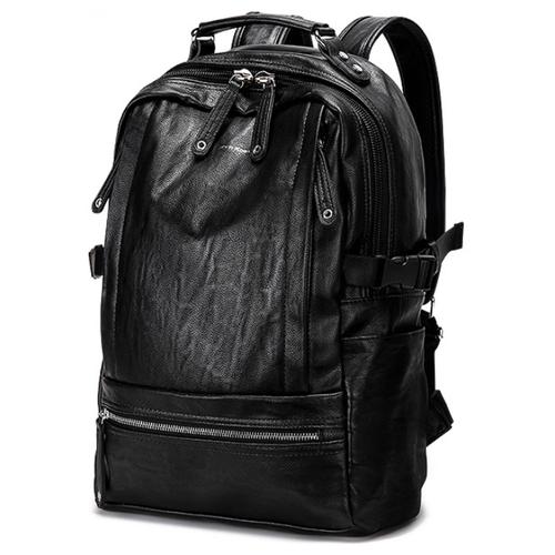 Рюкзак MyPads Premium M7738 из качественной импортной натуральной кожи для ноутбуков 14/ 15/15.4 дюймов износостойкий многофункциональный снижающий нагрузку с позвоночника в корейском стиле водоотталкивающий городской повседневный мужской женский черный