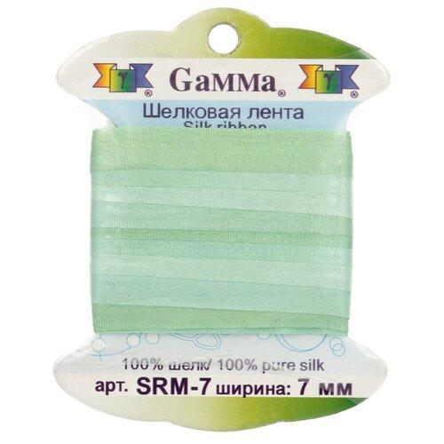 Фото - Лента Gamma шелковая SRM-7 7 мм 9.1 м ±0.5 м M042 св.зеленый/зеленый ленты gamma srm 13 лента декоративная gamma шелковая m042 св зеленый зеленый