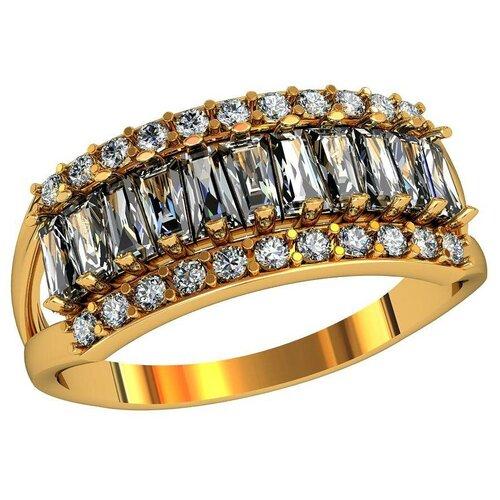 Фото - Приволжский Ювелир Кольцо с 33 фианитами из серебра с позолотой 272171-FA11, размер 19 приволжский ювелир кольцо с 65 фианитами из серебра с позолотой 252119 fa11 размер 19 5