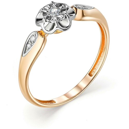 АЛЬКОР Кольцо с 5 бриллиантами из красного золота 13239-100, размер 16 лукас кольцо с 6 бриллиантами из красного золота r01 d rr01008adi r17 размер 16 5