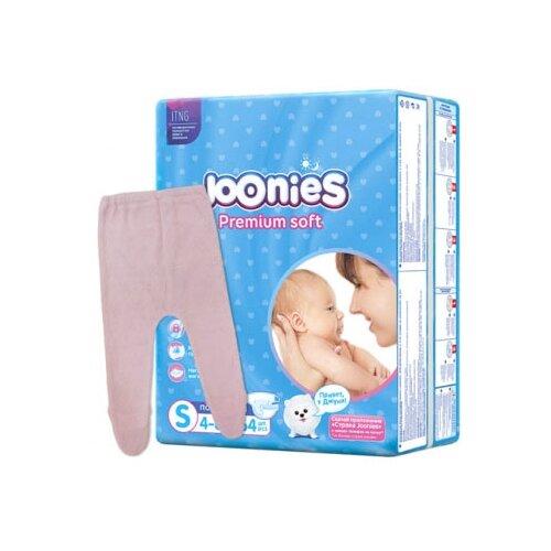 Купить Joonies подгузники S (4-8 кг) 64 шт + ползунки Эффект 62 размер, 64 шт., розовый, Подгузники