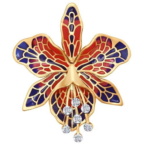 SOKOLOV Брошь из золота с эмалью с бриллиантами 6049004