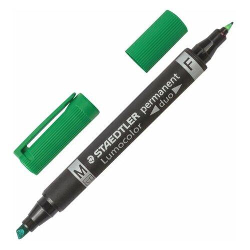 Купить Маркер перманентный STAEDTLER двусторонний, зеленый, круглый 0, 6 мм / скошенный 1, 5-4 мм, 348 B-5, 3 шт., Маркеры