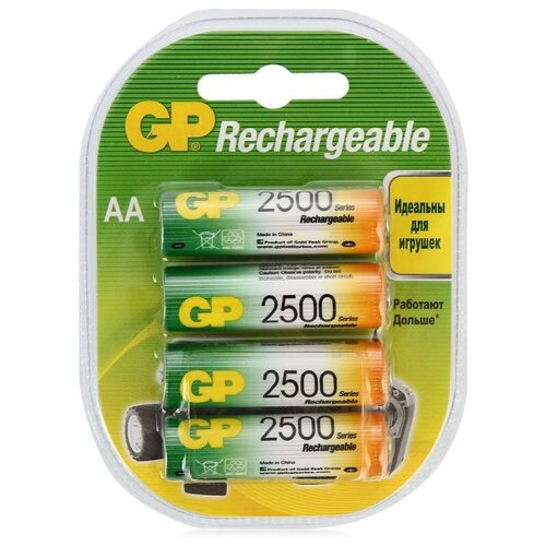 Фото - Аккумулятор Ni-Mh 2500 мА·ч GP Rechargeable 2500 series AA, 4 шт. аккумулятор ni mh 950 ма·ч gp rechargeable 1000 series aaa 6 шт