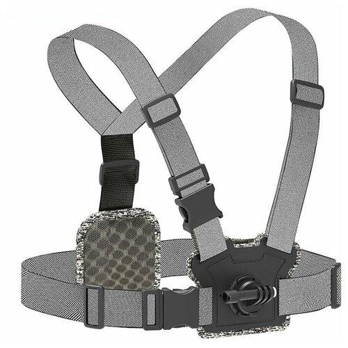 Фото - Telesin Крепление для двух камер на Грудь и спину серый telesin защелка с двумя креплениями для камер и аксессуаров черный